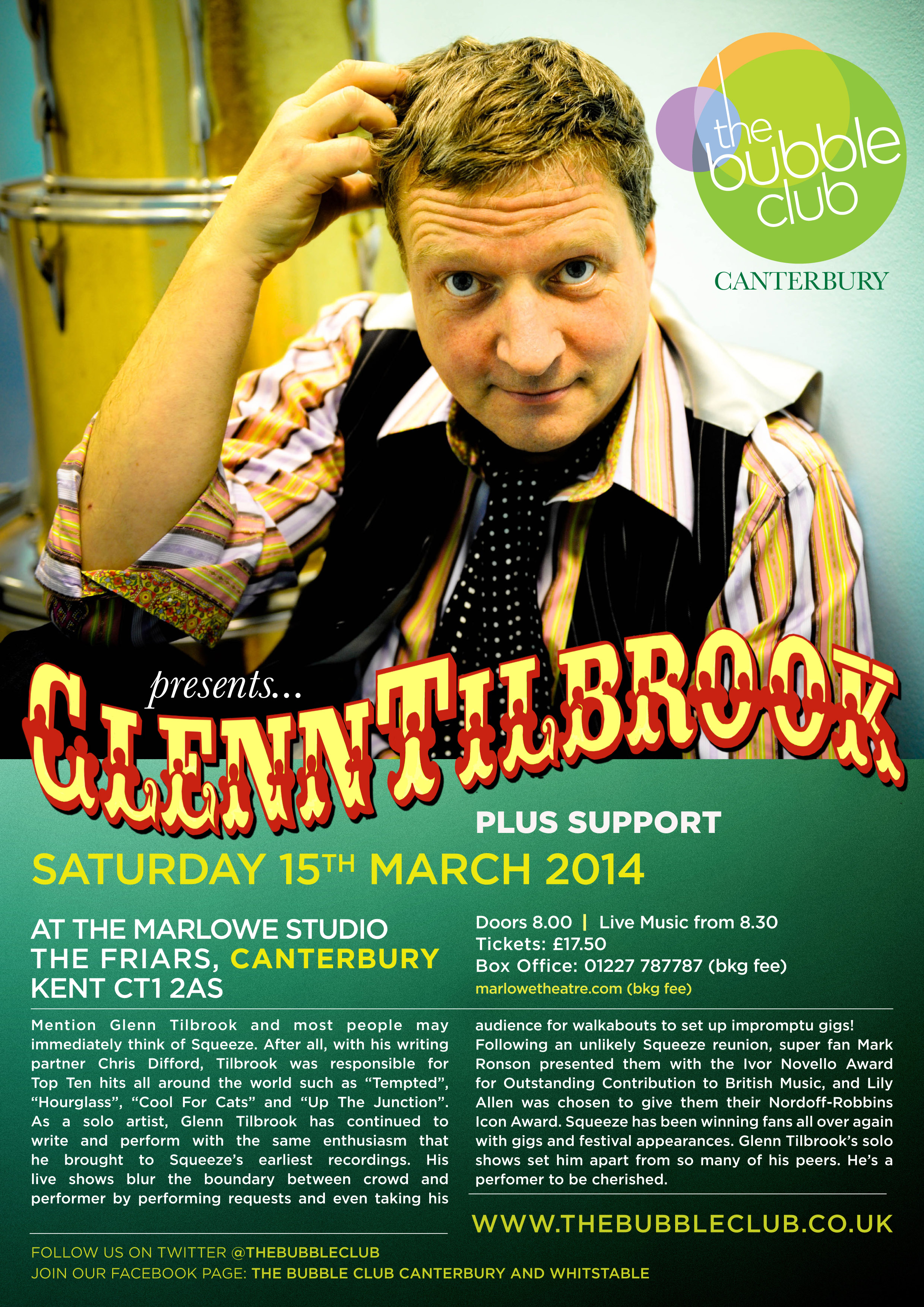 Glen Tilbrook March 15th 2014, Marlowe Studio, Canterbury